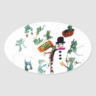LITTLE MICE PLAY IN SNOW stickers