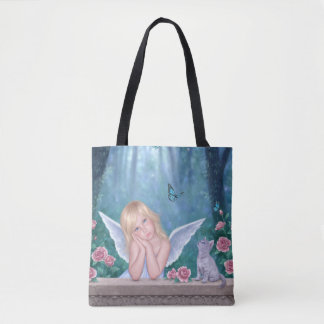 Little Miracles Cute Angel Girl & Kitten Tote Bag