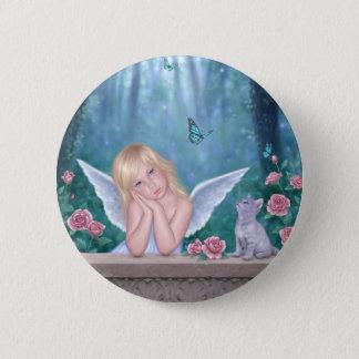 Little Miracles Cute Angel & Kitten Button Badge