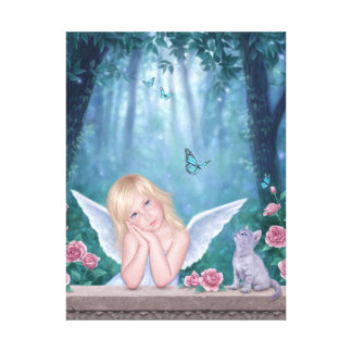 Little Miracles Cute Angel Wrapped Canvas Print