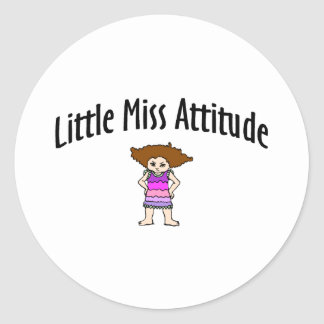 Little Miss Attitude Classic Round Sticker