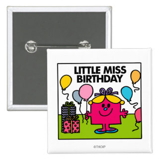 Little Miss Birthday   Presents & Balloons 2 Inch Square Button