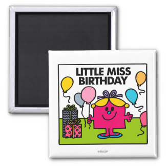 Little Miss Birthday | Presents & Balloons 2 Inch Square Magnet