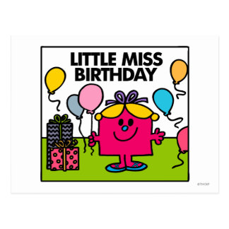 Little Miss Birthday | Presents & Balloons Postcard