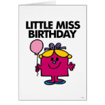 Little Miss Birthday With Pink Balloon Card