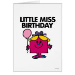 Little Miss Birthday With Pink Balloon Greeting Card