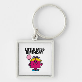 Little Miss Birthday With Pink Balloon Keychain