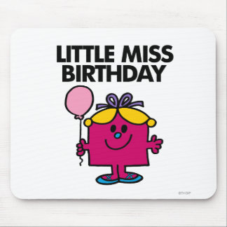 Little Miss Birthday With Pink Balloon Mouse Pad
