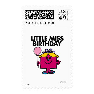 Little Miss Birthday With Pink Balloon Postage Stamp