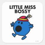 Little Miss Bossy   Black Lettering Square Sticker