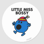 Little Miss Bossy   Black Lettering Classic Round Sticker