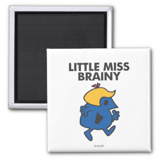 Little Miss Brainy On The Move 2 Inch Square Magnet