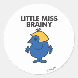 Little Miss Brainy Standing Still Classic Round Sticker