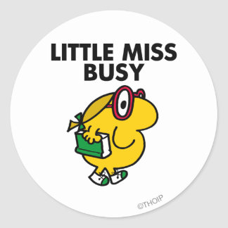 Little Miss Busy | Reading Time Classic Round Sticker