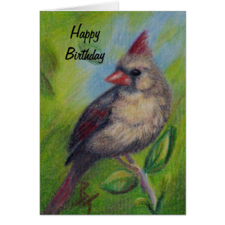Little Miss Cardinal aceo Birthday Card Greeting Card