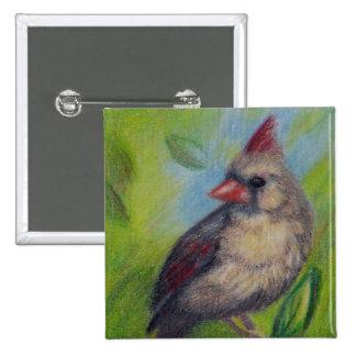 Little Miss Cardinal aceo Button