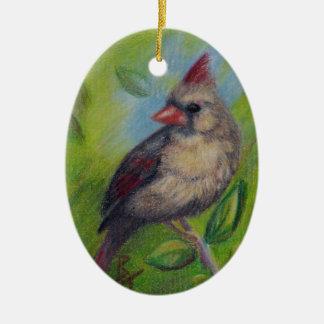 Little Miss Cardinal aceo Ornament
