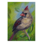 Little Miss Cardinal Art Card Large Business Cards (Pack Of 100)