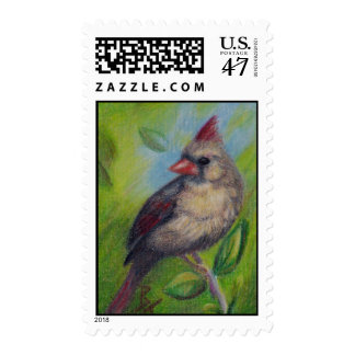 Little Miss Cardinal Postage Stamps