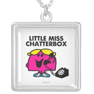Little Miss Chatterbox & Black Telephone Square Pendant Necklace