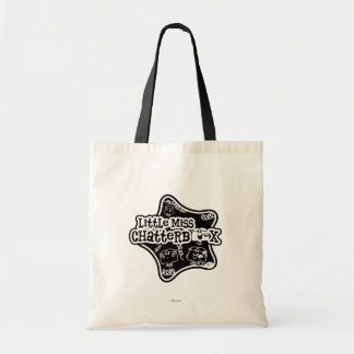 Little Miss Chatterbox | Black & White Star Budget Tote Bag
