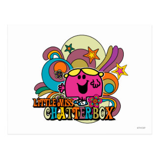 Little Miss Chatterbox & Colorful Swirls Postcard