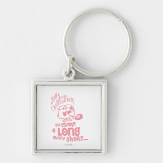 Little Miss Chatterbox | Long Story Short Silver-Colored Square Keychain