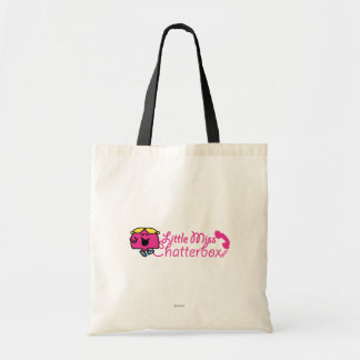 Little Miss Chatterbox | Telephone Cord Lettering Budget Tote Bag