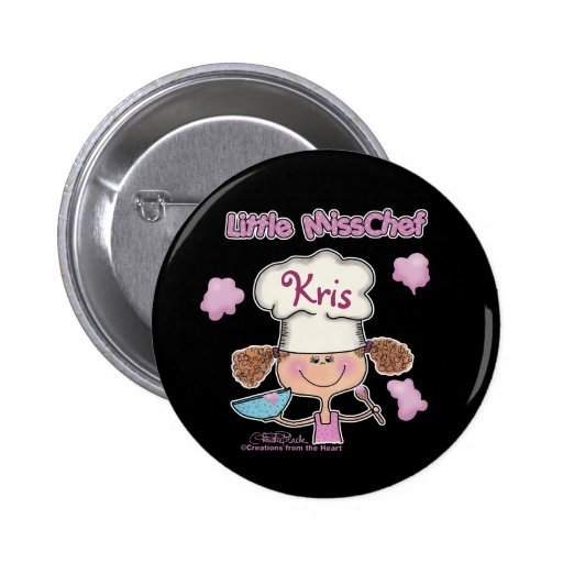 Little Miss Chef Personalize Pinback Button