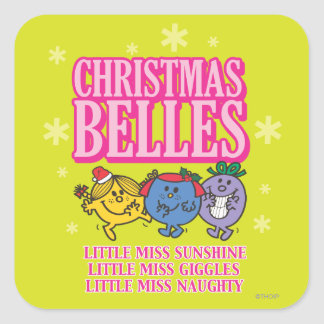 Little Miss Christmas Belles Square Sticker