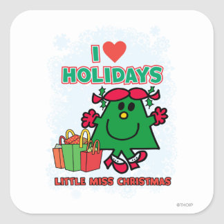 Little Miss Christmas | I Love Holidays Square Sticker