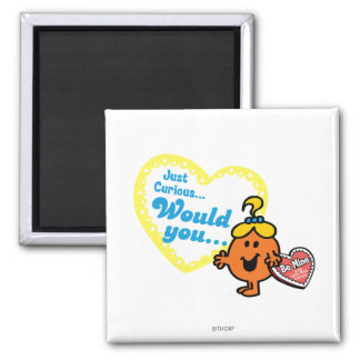 Little Miss Curious Valentine's Day Wish 2 Inch Square Magnet