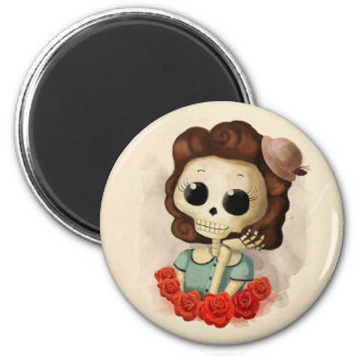 Little Miss Death and Roses 2 Inch Round Magnet