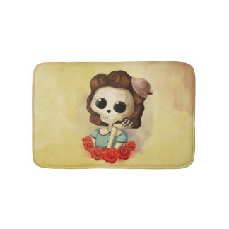 Little Miss Death and Roses Bath Mat