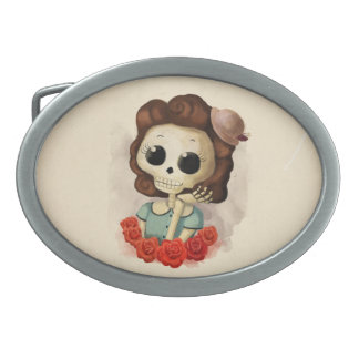 Little Miss Death and Roses Belt Buckle