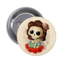 artsprojekt, skeleton, pin up girl, halloween, halloween gift, emo gift, cute halloween, skull, halloween girl, skeleton gift, halloween illustration, halloween idea, trick or treat, halloween design, halloween pin up, skeleton girl, halloween present, emo present, cute skeleton, skeleton present, vintage halloween, skeleton pin up, pin up, Button with custom graphic design