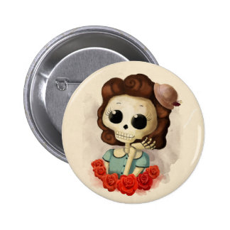 Little Miss Death and Roses Button