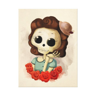 Little Miss Death and Roses Canvas Print