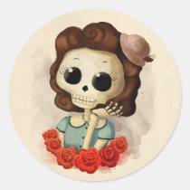 artsprojekt, skeleton, pin up girl, halloween, halloween gift, emo gift, cute halloween, skull, halloween girl, skeleton gift, halloween illustration, halloween idea, trick or treat, halloween design, halloween pin up, skeleton girl, halloween present, emo present, cute skeleton, skeleton present, vintage halloween, skeleton pin up, pin up, Sticker with custom graphic design