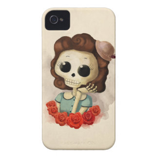 Little Miss Death and Roses iPhone 4 Case