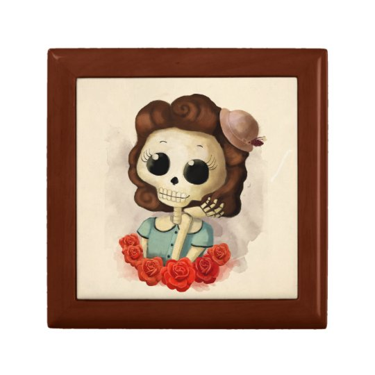 Little Miss Death and Roses Jewelry Box