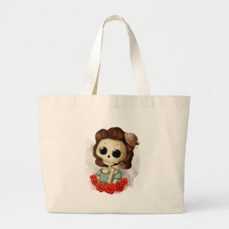 Little Miss Death and Roses Large Tote Bag