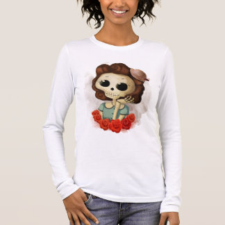 Little Miss Death and Roses Long Sleeve T-Shirt