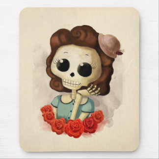 Little Miss Death and Roses Mouse Pad