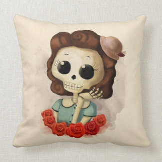 Little Miss Death and Roses Throw Pillows