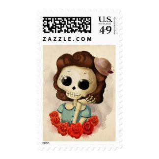 Little Miss Death and Roses Postage Stamps