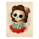 Little Miss Death and Roses Postcard