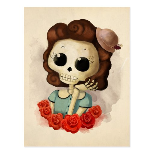 Little Miss Death and Roses Postcards