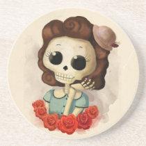 artsprojekt, skeleton, pin up girl, halloween, halloween gift, emo gift, cute halloween, skull, halloween girl, skeleton gift, halloween illustration, halloween idea, trick or treat, halloween design, halloween pin up, skeleton girl, halloween present, emo present, cute skeleton, skeleton present, vintage halloween, skeleton pin up, pin up, Descanso para copos com design gráfico personalizado