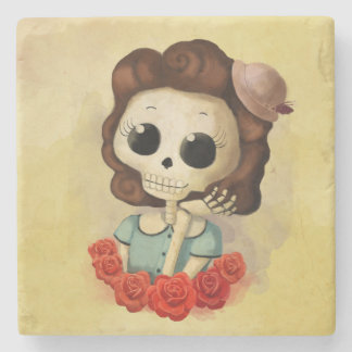 Little Miss Death and Roses Stone Coaster